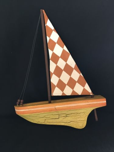 POTTERY BARN Yellow Orange White Decorative Wood Sailboat Nautical Decor Sail