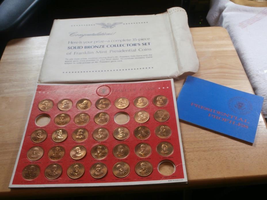 1968 Shell Oil Presidents Bronze Coin Set Carded + Booklet + Envelope missing 3