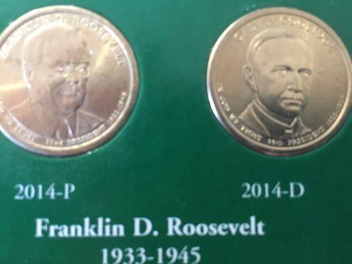 2014 P & D  FRANKLIN ROOSEVELT PRESIDENTIAL DOLLAR COINS