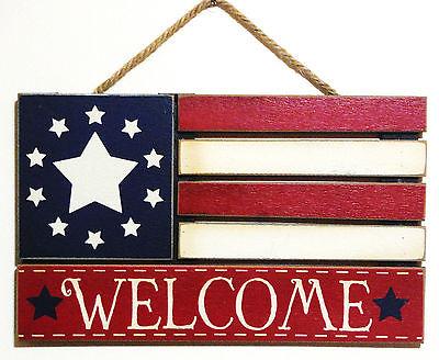 4TH OF JULY SUMMER  AMERICANA WOOD HANGER VINTAGE DOOR/WALL HANGER 15.5