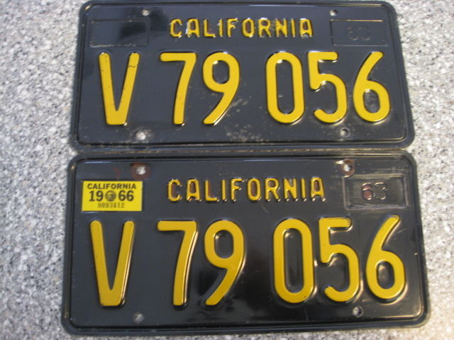 1963 California Commercial License Plates, 1966 Validation, DMV Clear Guaranteed