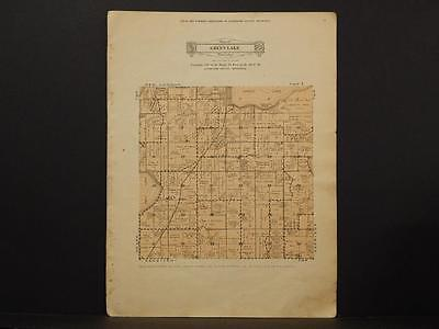 Minnesota Kandiyohi County Map Green Lake Township   c1930 Y6#88