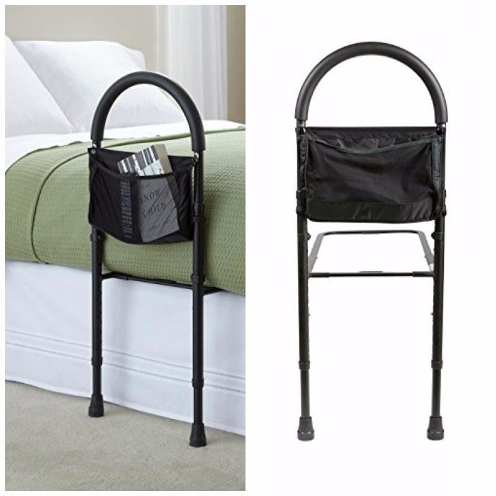 Bed Assist Bar With Storage Pocket Safety Rail Support Handles Elderly Bedroom