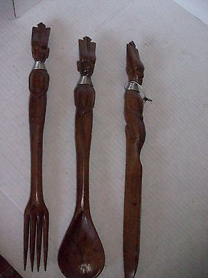 WOOD AFRICAN SPOON, FORK AND KNIFE DECORATIVE SET WITH METAL DETAIL, AWESOME SET