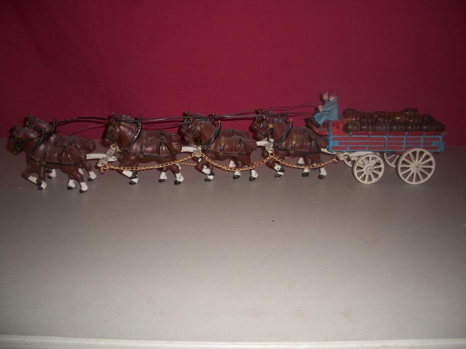 Vintage Anheuser Busch Budweiser Cast Iron Wagon 8 Horses 2 Men Dog 30 Barrels