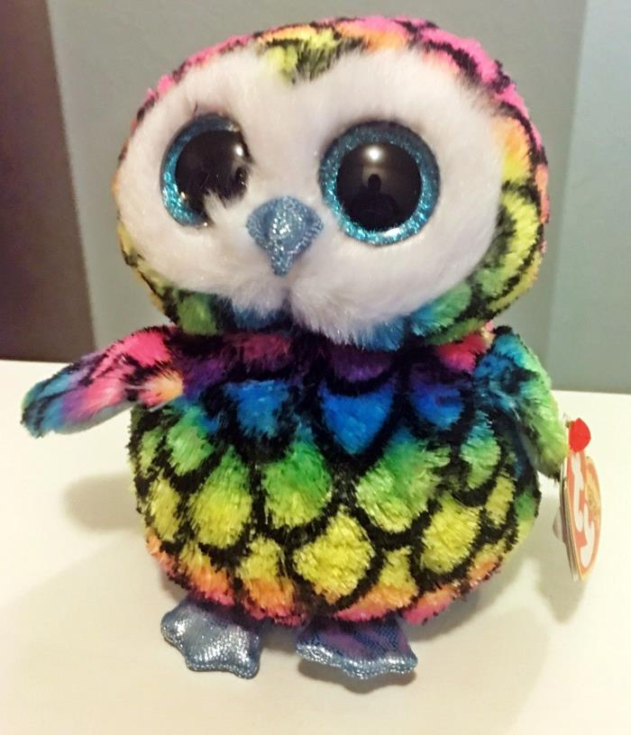 Aria Ty Beanie Boos 6 Inch - MWMT - multicolored owl - FREE SHIPPING
