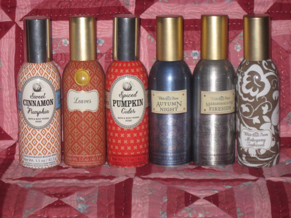 Bath & Body Works Lot of 6 Concentrated Room Sprays Autumn Night, Leaves & More