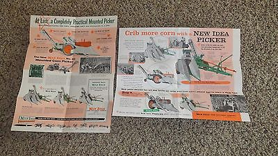 2 1950s VINTAGE NEW IDEA BROCHURES POSTERS MAILERS 1 & 2 ROW CORN PICKER 175 ELE