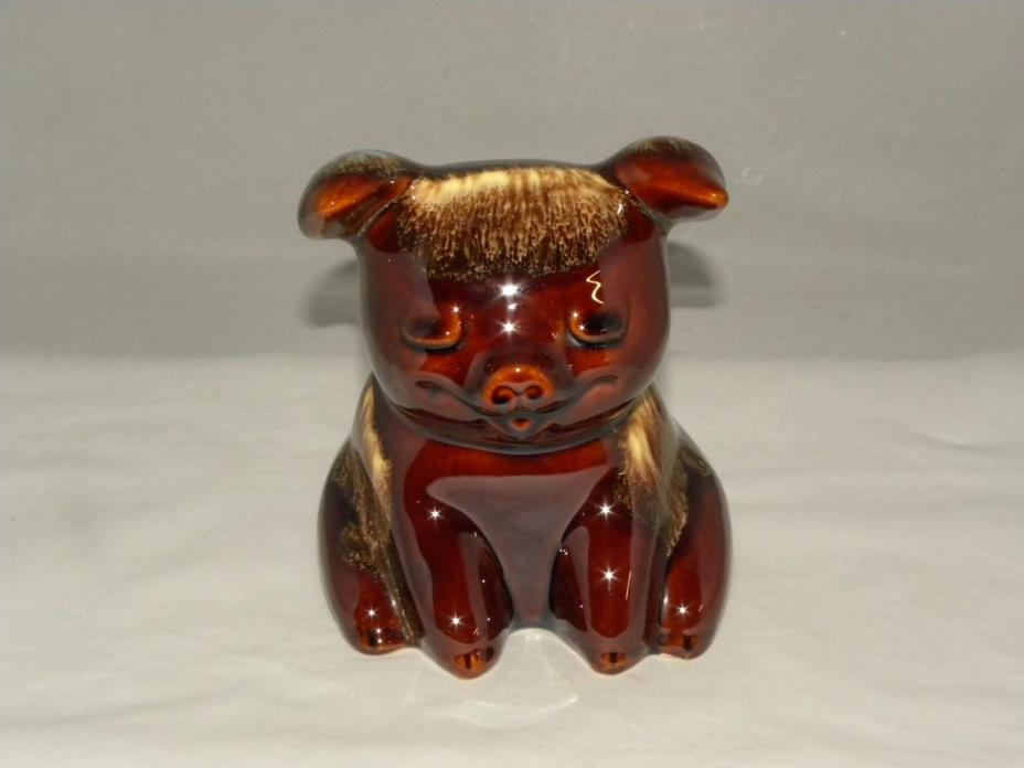 HULL ART POTTERY CORKY PIG BROWN DRIP GLAZE PIGGY BANK