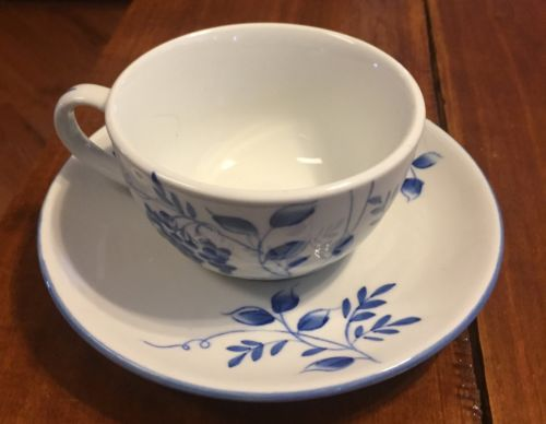 Andrea by Sadek oversized cup saucer Blue And White New