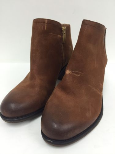 Franco Sarto Cognac Suede Ankle Boots Women's Shoes Size 7.5 Medium