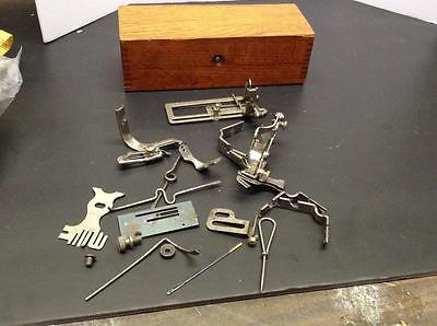 ANTIQUE WHEELER WILSON ATTACHMENTS AND BOX, CAME FROM WD-9  (J-SMP-4)