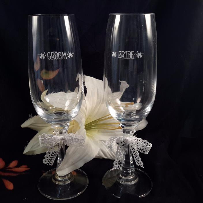 Lead Crystal Bride and Groom Champagne Toasting Glasses~ Love's Rememberance