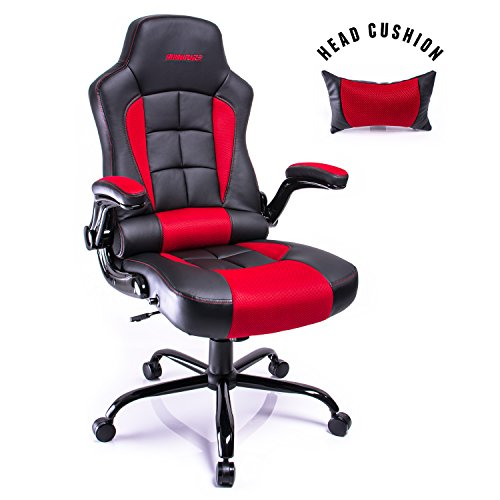 Aminiture Racing Style Adjustable Office Chair Recliner Swivel Chair (Red)