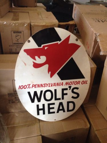 1970's Wolfs Head Sign Tin Pennsylvania Motor Oil Double Sided Gas Station Adv.