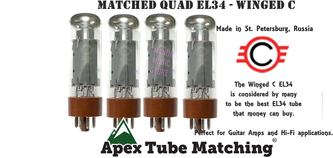 Want the best? Winged C EL34 Matched Quad Tube Set burned-in for max durability
