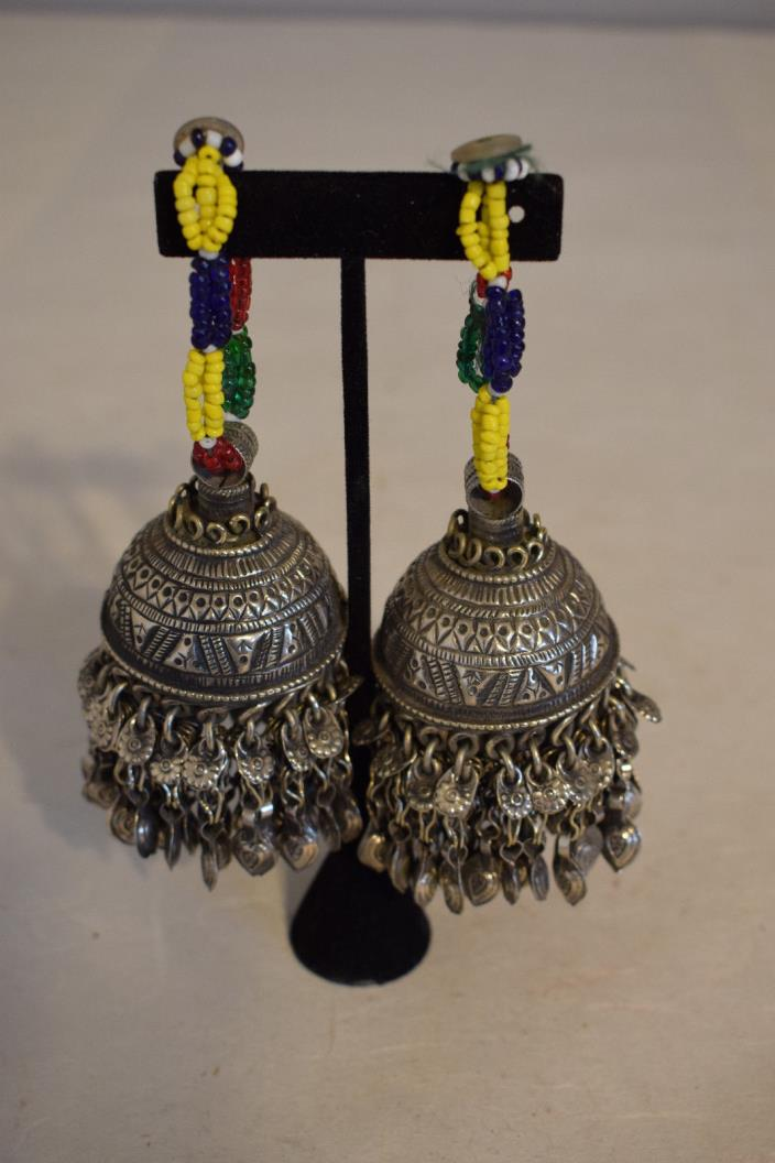 Bells Pair Silver Large Kuchi Bells Middle East Red Blue Green Glass Pearl