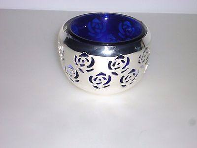 COBALT BLUE GLASS VOTIVE CANDLE HOLDER SILVER METAL HOLDER