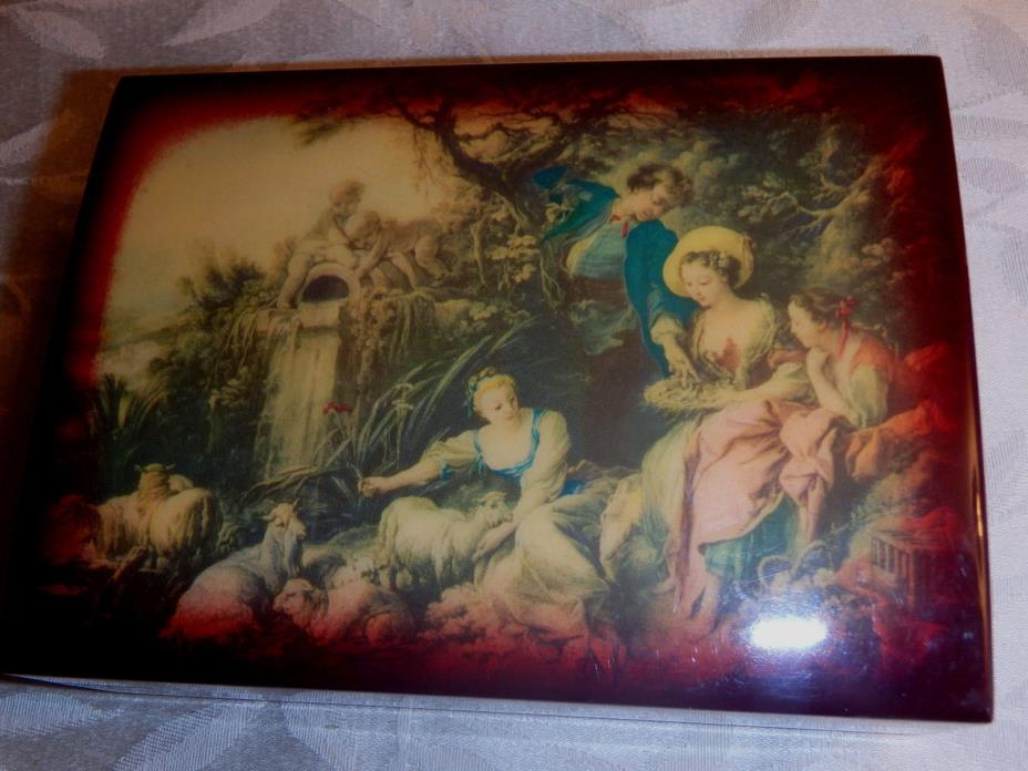 VINTAGE REUGE ITALIAN WOOD  LACQUER MUSICAL JEWELRY BOX SWISS MOVEMENT