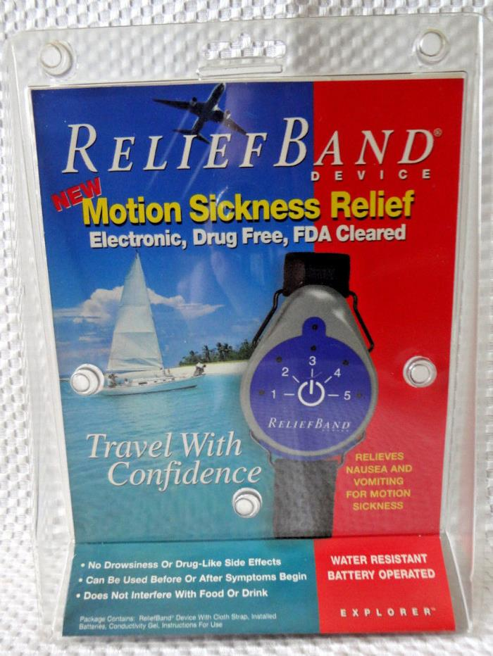 RELIEF BAND MOTION SICKNESS RELIEF WEARABLE DEVICE -RELIEVES NAUSEA AND VOMITING