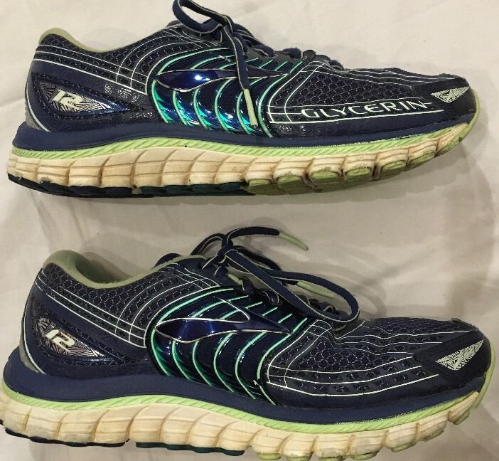 Brooks Women's Glycerin 12 Running Shoes Size 9.5 Wide Navy Blue Green