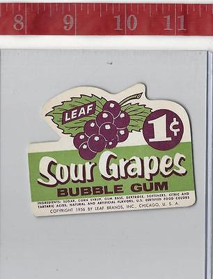 Vintage 1956 vending machine display 1c Leaf sour grapes Gum card FREE SHIPPING