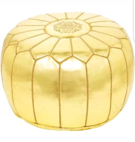 New luxurious Sttuffed Moroccan GOLD  Pouf leather Ottoman Footstool