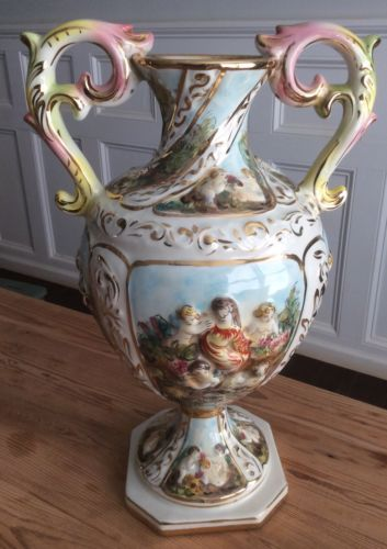 Vintage Large Capodimonte Vase With Raised Handles Gilded Motifs Decorations.
