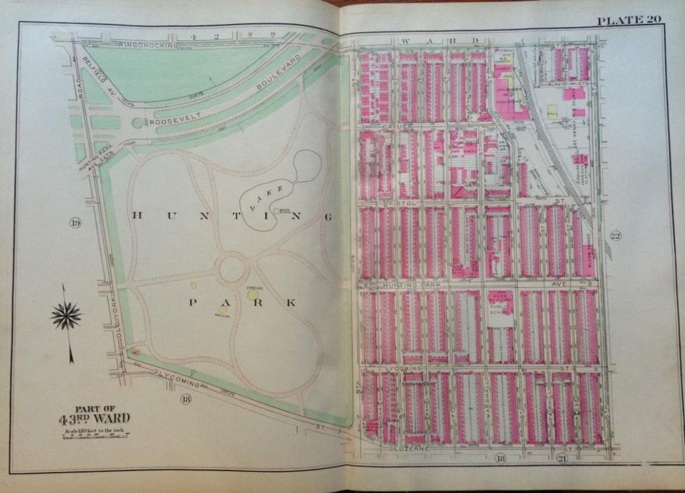 1925 PHILADELPHIA PA HUNTING PARK ALEX MCCLURE PUBLIC SCHOOL PLAT ATLAS MAP