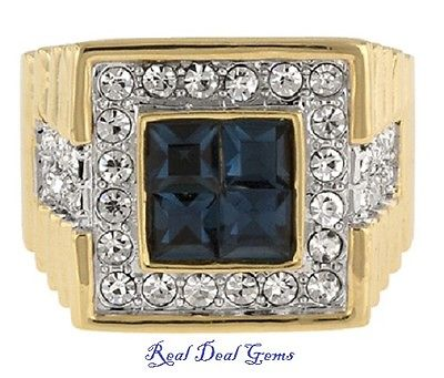 3 Ct Princess Halo Style Sapphire Diamond Men's Ring Yellow Gold Sizes 10 - 14