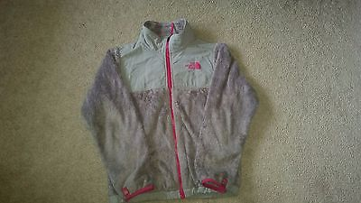 GIRLS MEDIUM 10/12 GRAY/PINK DENALI NORTHFACE FLEECE SPRING/FALL JACKET GUC