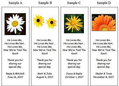 100 Personalized Wedding Favors Bookmarks FLOWERS or YourPersonal Photo
