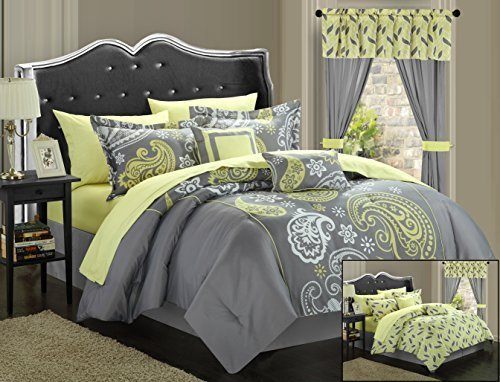 Chic Home 20-Piece Olivia Paisley Print Reversible Comforter Set, Queen