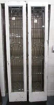 PAIR ALL BEVELED ANTIQUE GLASS DOOR SIDE- LITES AN OHIO ESTATE # 534