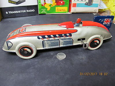 MALCOLM CAMPBELL'S BLUEBIRD WINDUP TIN RACE CAR BY WELLS BRIMTOY EXCELLENT WORKS