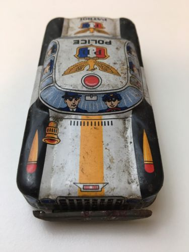 Vintage Tin Police Car. Made In Japan.