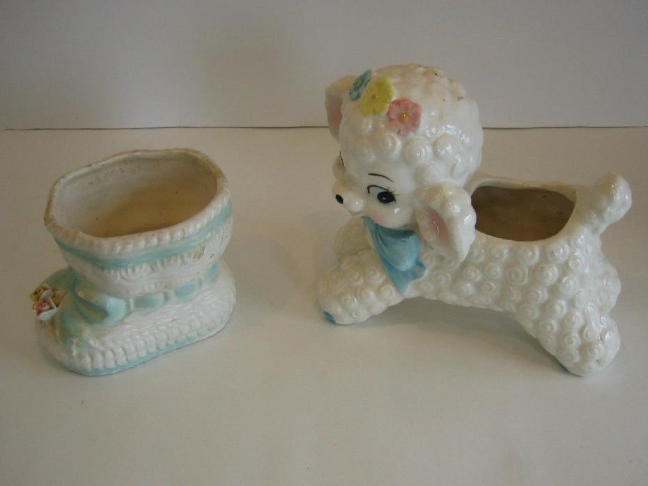 Lot Of 2 Vintage Rubens Infants Nursery Room Planters Booty / Boot & Lamb #598