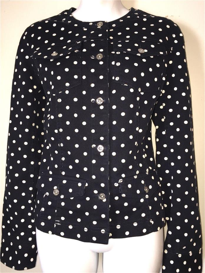 CHAPS WOMENS LADIES NAVY BLUE & WHITE POLKA DOT STRETCH COTTON BLAZER JACKET ~ M