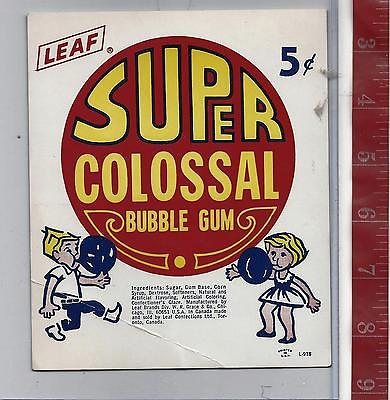 Vintage vending machine display 5c Super Colossal bubble gum card FREE SHIPPING