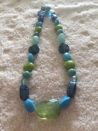 Blue Turquoise And Lime Green Beaded Necklace