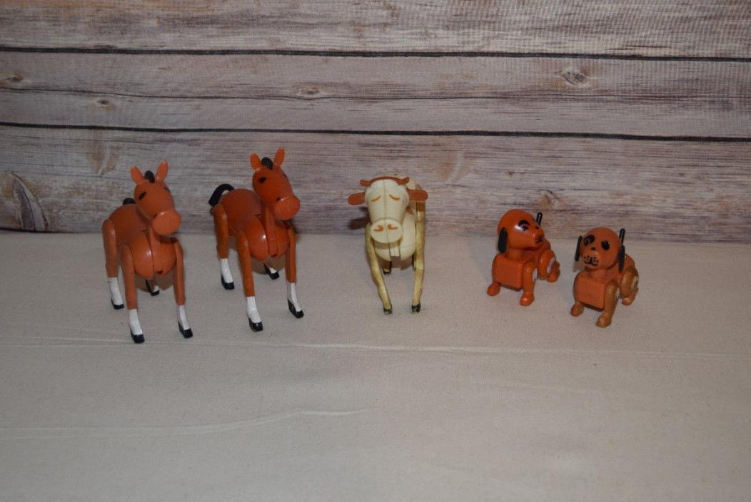 Vintage Fisher Price Little People Farm Barn Animals Lot Cow Horse Dog 5