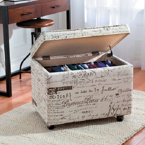 Rolling File Cabinet Storage OTTOMAN SEAT Fabric Furniture Foot Rest Drawer New