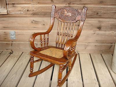 Antique Oak Horse Design Pressed Back Childs Rocker Rocking Chair Rare HTF VGC