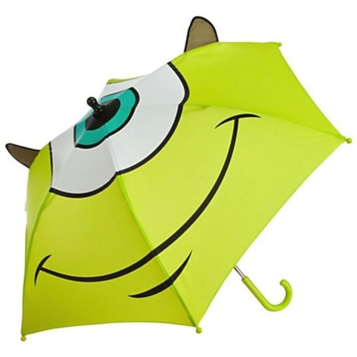 Disney Store Monsters Inc Umbrella Mike Wazowski Sulley Green NEW rain