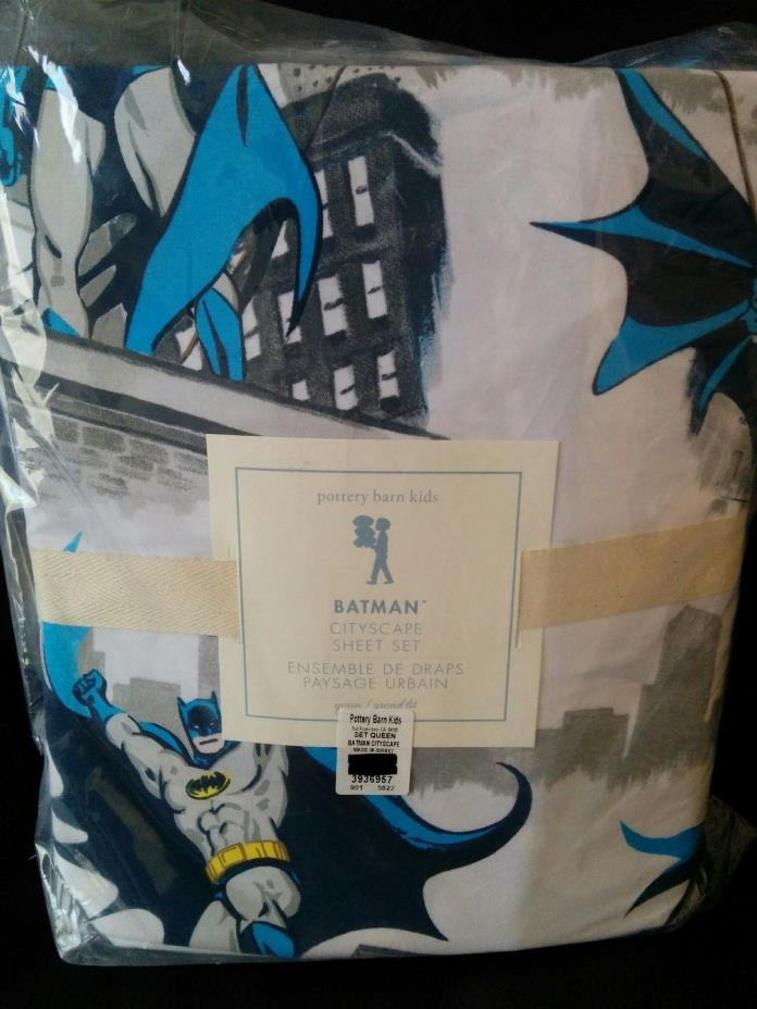 4pc Pottery Barn Kids Batman CITYSCAPE queen sheet set Blue Gray NWT