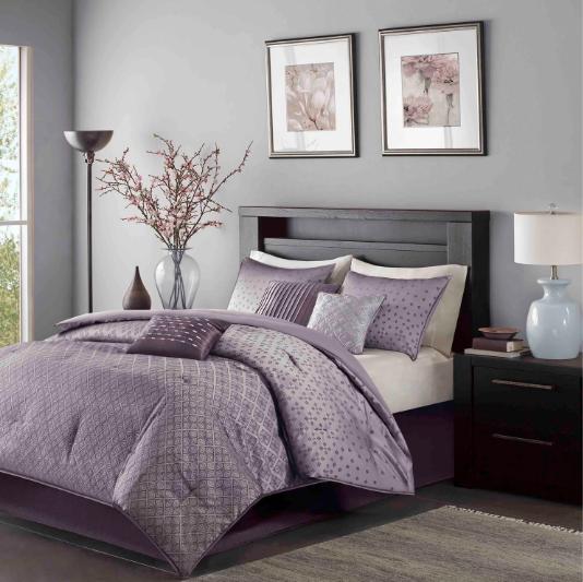Bedding Queen Romantic Comforter Sets Purple Bedspread Elegant Luxury Linens 7PC