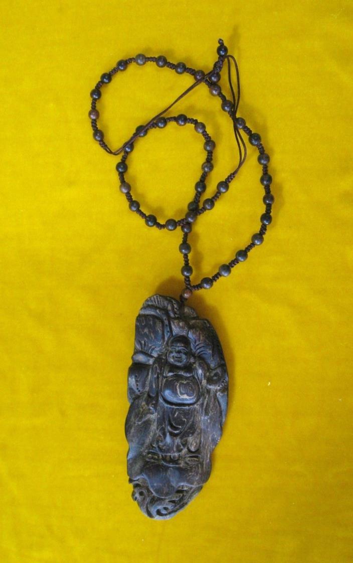 Rare Superb Chinese Antique Agarwood Kynam Kyara Qinan Buddha Necklace ?????