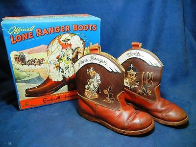 VINTAGE LONE RANGER CHILD'S ENDICOTT JOHNSON COWBOY BOOTS WITH BOX