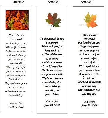 100 Personalized Fall Leaves Wedding Favor Bookmarks or Your Personal Photo
