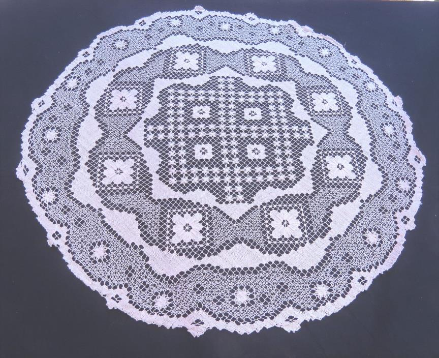Filet Lace Tablecloth Topper Doily White Cotton 34 Round Handmade